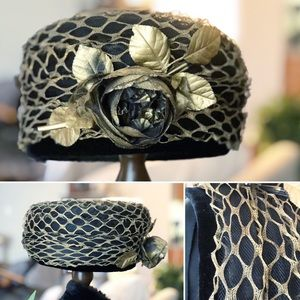 Vintage Black Pillbox Hat W/Tulle & Gold Netting